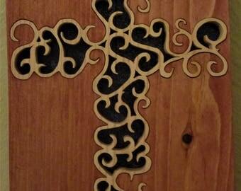 intricate scroll saw cross
