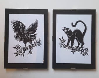 Set of 2 - Hybrid Crittens Tattoo Flash - A6 Postcards