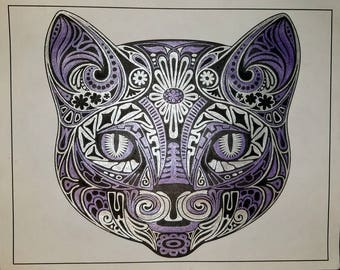 Finished adult coloring book page: Metallic Purple and Silver Cat