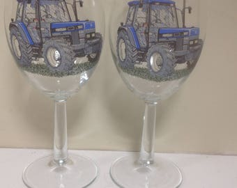New Holland 2 Large Wine Goblets