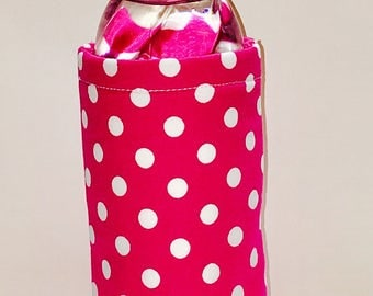 Insulated Water Bottle Cover: Pink/White Polka Dots