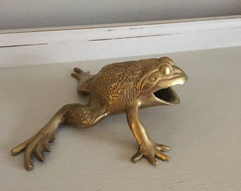 Vintage Mid Century Modern Brass Paperweight Frog Toad