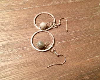 Peace Jade bead silver dangle earrings with hammered silver plated rings