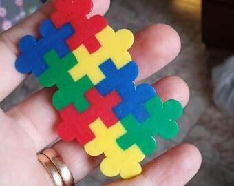 Large Puzzle piece hair clip