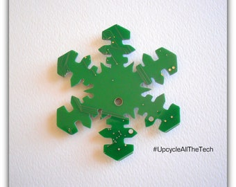 Precious Snowflake Silhouette Cut Out of Recycled Circuit Board - Choose Option: Magnet, Pin or Hanging Ornament