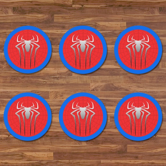 Spiderman Cupcake Toppers - Spiderman Stickers - Red & Blue Logo - Spiderman Birthday - Spiderman 2 inch Round Stickers - Superhero Party