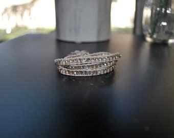 Glass Bead Wrap Bracelet | Champagne