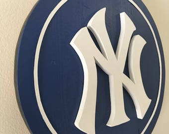3D NY Yankees 15 In. Sign (Navy Blue and White or Black and White)