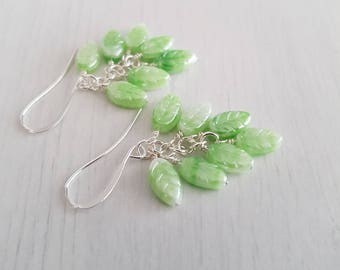 Vintage green glass beads, wire wrapped, silver plated earrings.