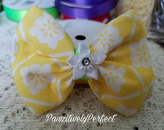 Yellow and White Hair Bow with White Flower and Alligator Clip