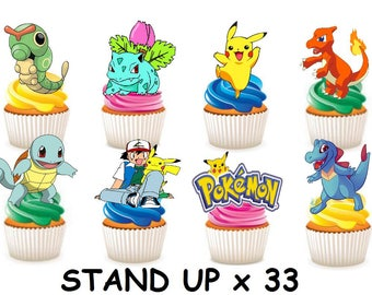 33 x POKEMON edible rice fairy paper cupcake cake toppers edible decoration Stand up Pokemon Kids Party Characters