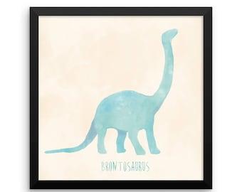 Dinosaur Framed Nursery Print – Blue and Cream Brontosaurus