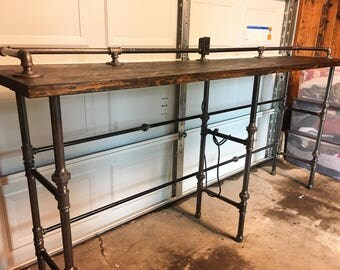 Industrial bar table with outlet