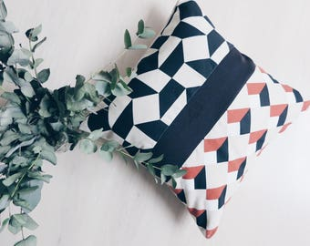 Cushion black beige and orange - geometric design