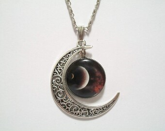Moon Eclipse Glass Cabochon Pendant with Moon Charm Necklace SC504