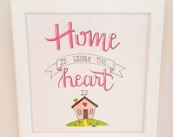 Home Is Where The Heart Is Wall Art, Hand Calligraphy Artwork