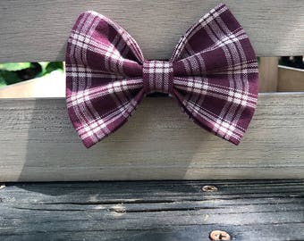 Burgundy Plaid Dog Bow Tie
