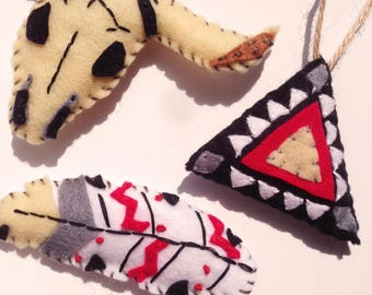 Set of 3 Navajo Decorations. Hand Embroidered