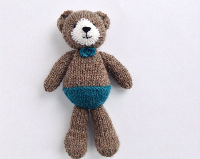 PREORDER Hand Knitted Bear, Knit Teddy Bear, Newborn photo props knit teddy, First soft toy, knitted stuffed animal 6 inch
