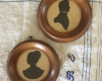 Set of 2 Vintage Gentleman & Lady Silhouettes