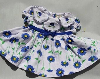 Vintage Babygirl dress blue flowers floral VTG size 12 months spring easter