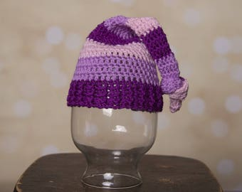 Purple stripped sleepy hat