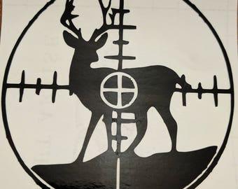 Deer In Crosshairs Vinyl Decal