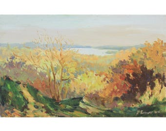 Autumn Landscape Original oil painting PLEIN AIR artwork Home decor Fine art Yellow trees IMPRESSIONIST art Oil on canvas by A. Onipchenko