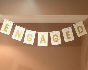 We're ENGAGED! Hanging Banner (Various Colours, Square Cards)