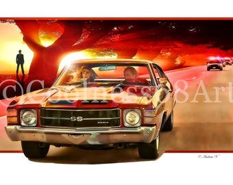Drive Angry 3D Style Original Art Print
