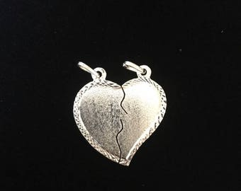 Sterling Silver .925 Couples Heart 2PC Set Charm Pendant