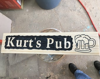 Hand carved custom wood sign