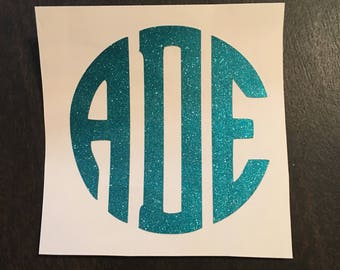 Monogram Decal/Glitter Decal/Glitter Monogram/Car Decal/Sorority Decal/Vinyl Decal/Laptop Decal/RTIC Decal/Monogram Sticker/Yeti Decal/Decal