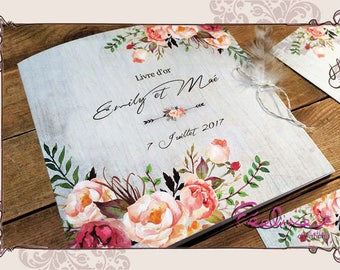 Guestbook for marriage or beginning, vintage, flower, flowers