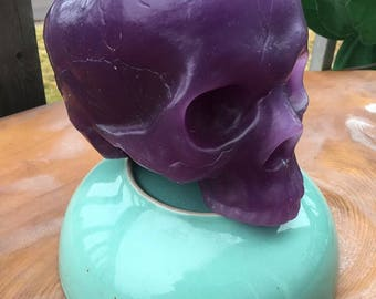Purple skull candle