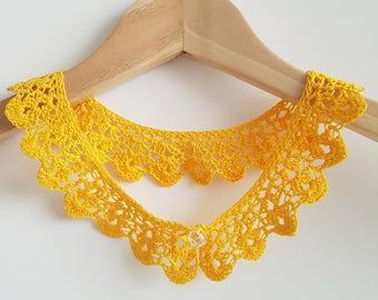 Crochet yellow cotton lace collar