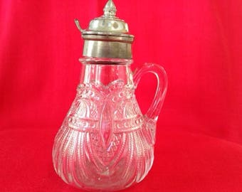 Antique Glass Cruet with silver top