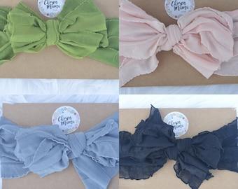 2 messy bow headbands, ruffle bow, baby bow, baby headband, newborn headband, newborn bow, messy bow
