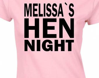 personalised hen night t-shirt,personalised free of charge