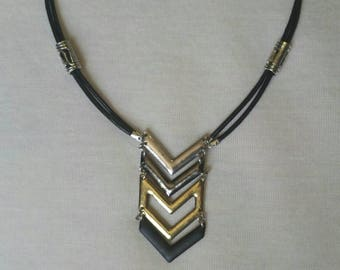 Double Leather strand, chevron style, silver, gold, black pendant, magnetic clasp