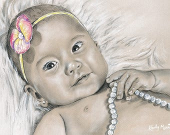 Custom Baby Portrait, Child Portrait, Child Drawing, Portrait Drawing, art by Karly Marie