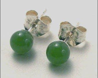 Jade 4mm Round Studs Earrings - Sterling Silver