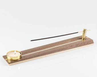 Modern Walnut, Maple and Brass Incense and Tea Light Holder - FREE SHIPPING