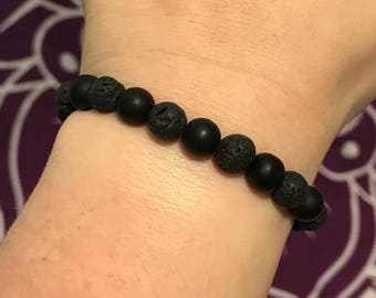 Lava and Onyx Essential Oil Diffuser Bracelet