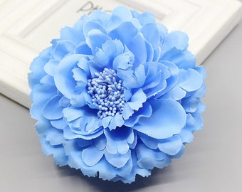 2 Blue Peony Big Flower Hair Clips Brooches 10cm