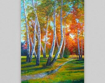 Landscape original painting Autumn painting Impressionist landscape Large wall art Autumn birch forest Acrylic Canvas art Room decor Artwork