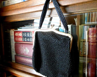 Black Beaded Handbag - Vintage Lumured Handbag