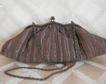 Bronze Satin Evening Bag, Satin Evening Purse, Satin Clutch, Vintage Clutch, Ruched Satin Purse, Ruched Evening Bag, Bronze Evening Purse