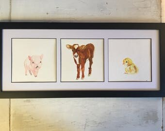 Farm Babies Watercolor Painting Calf Piglet Chick