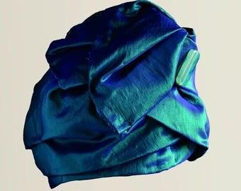 Turbante Turban Handmade Vintage in taffetà, color verde acqua cangiante, Fluctuating green, anni '50, 50's